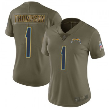 Women's Los Angeles Chargers Trevion Thompson Green Limited 2017 Salute to Service Jersey By Nike